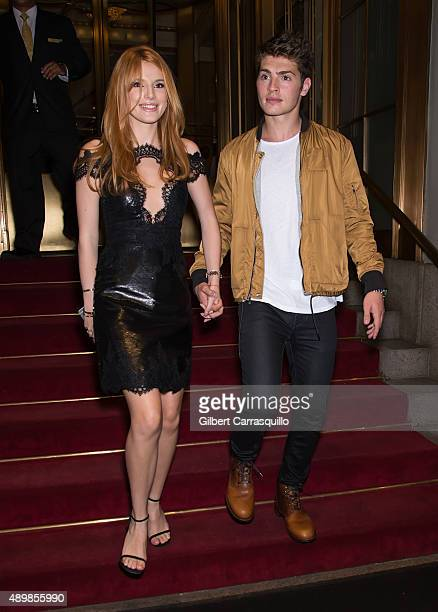 Bella Thorne and Gregg Sulkin seen arriving at Marchesa fashion show during Spring 2016 New York Fashion Week at St Regis Hotel on September 16 2015...