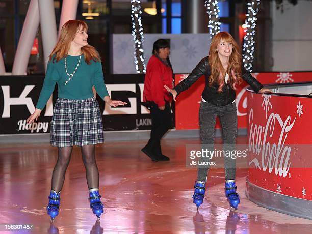 Bella Thorne and her sister attend the Disney On Ice Dare To Dream Red Carpet Opening Night at LA Kings Holiday Ice at LA LIVE on December 12 2012 in...