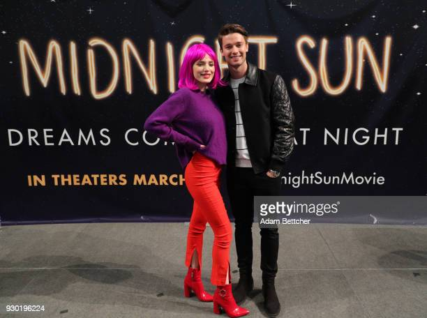 Bella Thorne and Patrick Schwarzenegger greet fans while promoting their film 'Midnight Sun' at Mall of America on March 10 2018 in Bloomington...