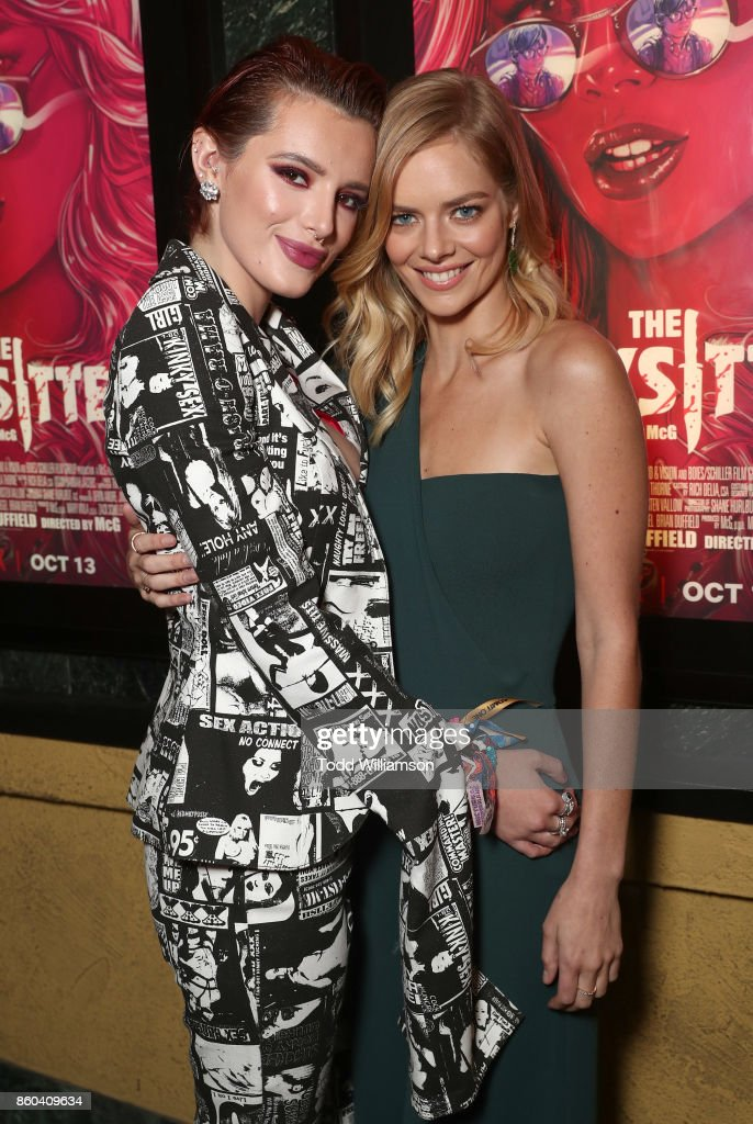 Bella Thorne and Samara Weaving attend the Los Angeles Premiere of 'The Babysitter' on October 11, 2017 in Los Angeles, California.