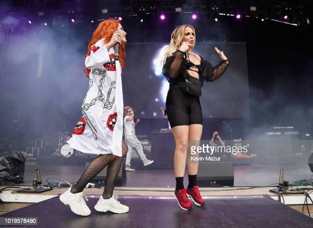 Bella Thorne and Tana Mongeau perform onstage during Day 2 of Billboard Hot 100 Festival 2018 at Northwell Health at Jones Beach Theater on August 19...