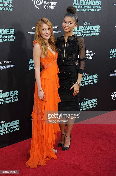 Bella Thorne and Zendaya arrive at the Los Angeles premiere of Alexander And The Terrible Horrible No Good Very Bad Day at the El Capitan Theatre on...