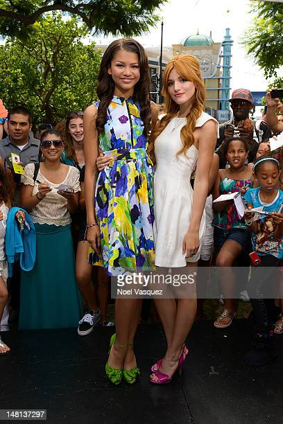 Bella Thorne and Zendaya visit Extra at The Grove on July 10 2012 in Los Angeles California