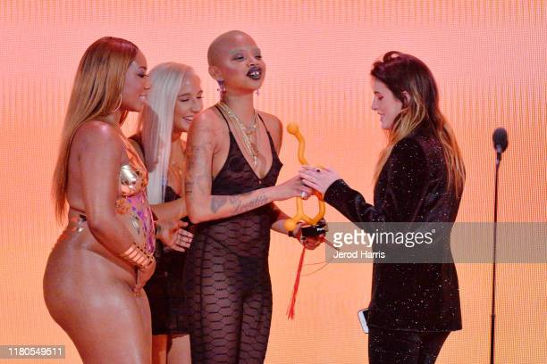 Bella Thorne appears on stage at the 2nd Annual Porn Hub Awards at The Orpheum Theatre on October 11 2019 in Los Angeles California
