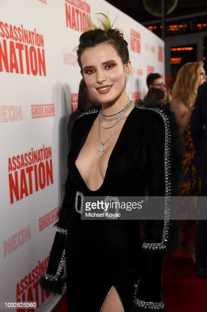 Bella Thorne arrives at the Los Angeles Premiere of Assassination Nation at ArcLight Cinerama Dome on September 12 2018 in Hollywood California