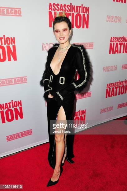 Bella Thorne arrives at the Premiere of Neon and Refinery29's 'Assassination Nation' at ArcLight Hollywood on September 12 2018 in Hollywood...