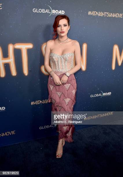 "Bella Thorne attends Global Road Entertainment's world premiere of ""Midnight Sun"" at ArcLight Hollywood on March 15, 2018 in Hollywood, California."