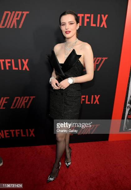 "Bella Thorne attends the premiere of Netflix's 'The Dirt"" at the Arclight Hollywood on March 18, 2019 in Hollywood, California."