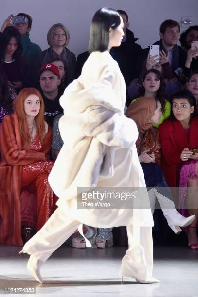 Bella Thorne attends the Sally LaPointe front row during New York Fashion Week The Shows at Gallery I at Spring Studios on February 12 2019 in New...