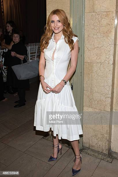 Bella Thorne attends the Zac Posen Spring 2016 fashion show during New York Fashion Week at Vanderbilt Hall at Grand Central Terminal on September...