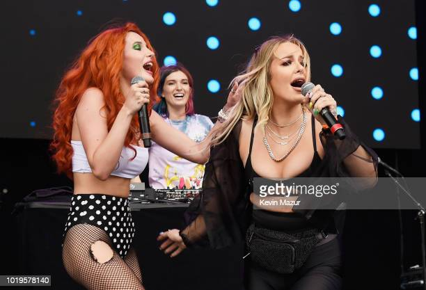 Bella Thorne COM3T Tana Mongeau perform onstage during Day 2 of Billboard Hot 100 Festival 2018 at Northwell Health at Jones Beach Theater on August...
