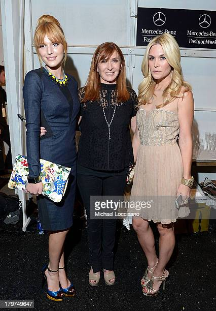 Bella Thorne designer Nicole Miller and Tinsley Mortimer pose backstage at the Nicole Miller Spring 2014 fashion show during MercedesBenz Fashion...