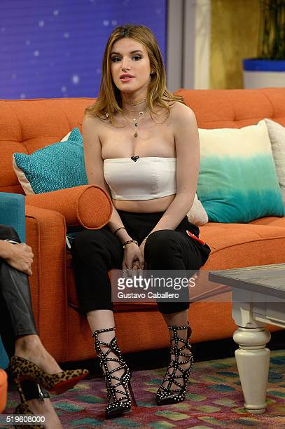 Bella Thorne is on the set of Univisions despierta America in support of the film Ratchet Clank at Univision Headquarters on April 7 2016 in Miami...
