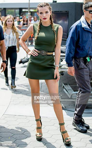 Bella Thorne is seen visiting 'Extra' at Universal Studios Hollywood on June 07 2016 in Los Angeles California