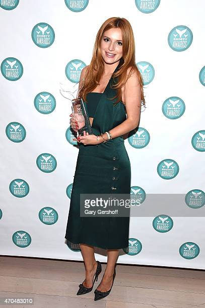 Bella Thorne poses with a Shorty Award during The 7th Annual Shorty Awards on April 20 2015 in New York City