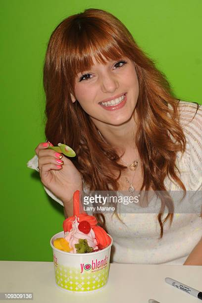 Bella Thorne star of the Disney Channel original series 'Shake It Up' meets and greets fans at YoBlendz on February 19 2011 in Weston Florida