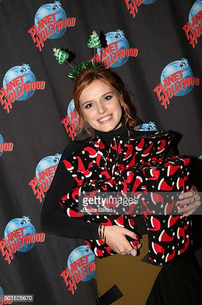 Bella Thorne stops at Planet Hollywood to give Christmas gifts to children from The Garden of Dreams Foundation at Planet Hollywood Times Square on...