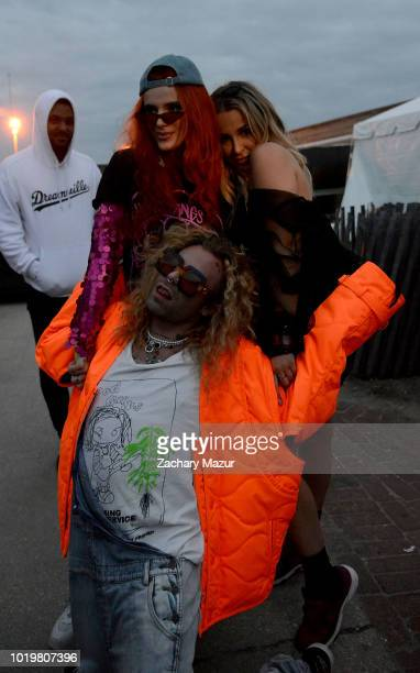 Bella Thorne Tana Mongeau and Mod Sun pose backstage during Day 2 of Billboard Hot 100 Festival at Northwell Health at Jones Beach Theater on August...
