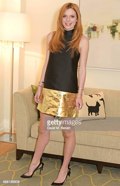 Bella Throne poses at a photocall for The Duff at the Corinthia Hotel London on March 30 2015 in London England