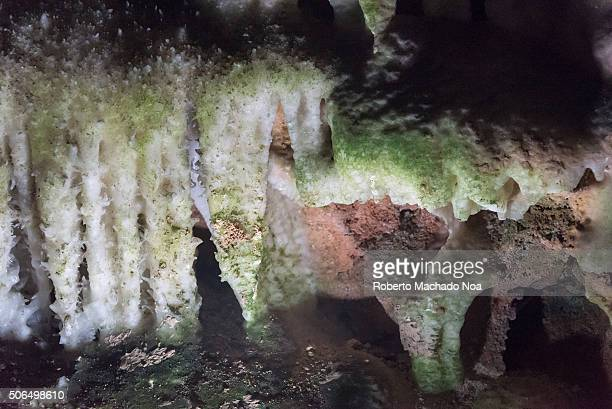 Bellamar Caves interior details. The Cuevas de Bellamar are one of the oldest Cuba tourist attractions. They are visited by thousands of tourists...