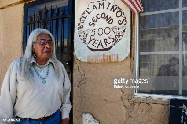 Bellamino a Native American artist stands in front of his adobe home at Sky City one of three Native American villages which make up Acoma Pueblo...