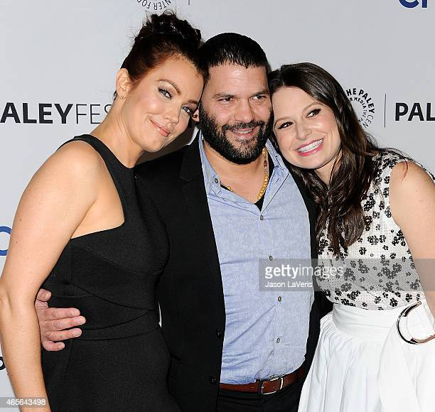 Bellamy Young Guillermo Diaz and Katie Lowes attend the 'Scandal' event at the 32nd annual PaleyFest at Dolby Theatre on March 8 2015 in Hollywood...