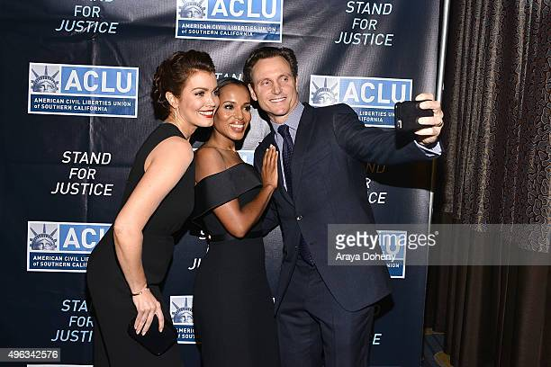 Bellamy Young Kerry Washington and Tony Goldwyn attend the ACLU SoCal Hosts 2015 Bill of Rights Dinner at the Beverly Wilshire Four Seasons Hotel on...
