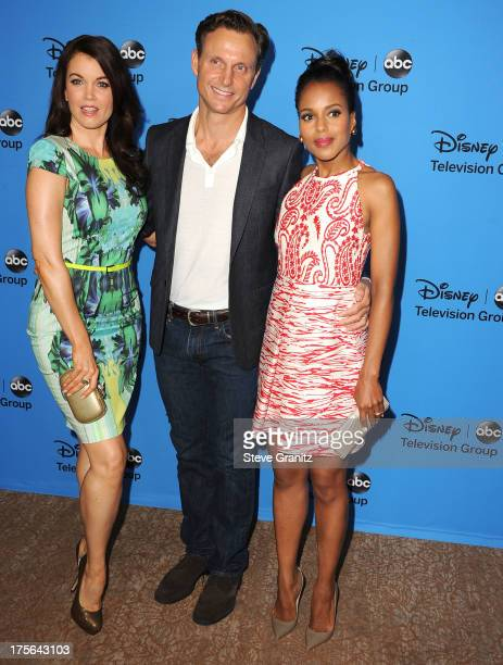 Bellamy Young, Tony Goldwyn and Kerry Washington arrives at the 2013 Television Critics Association's Summer Press Tour - Disney/ABC Party at The...