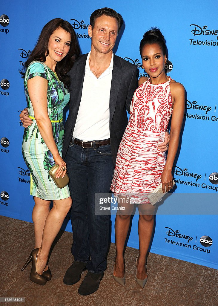 Bellamy Young, Tony Goldwyn and Kerry Washington arrives at the 2013 Television Critics Association's Summer Press Tour - Disney/ABC Party at The Beverly Hilton Hotel on August 4, 2013 in Beverly Hills, California.