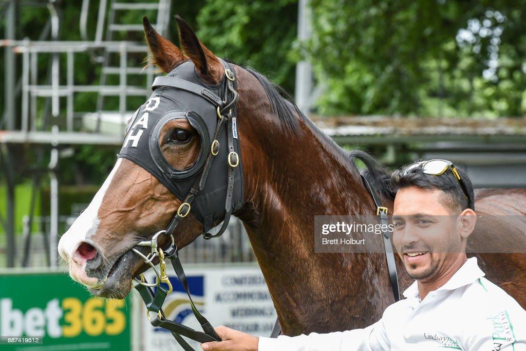 Bellaria (NZ) after winning the The Last Legg Stakes BM64 Handicap at Kyneton Racecourse on December 07, 2017 in Kyneton, Australia.