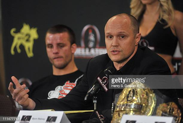 Bellator founder and CEO Bjorn Rebney attends the post fight press conference at Bellator 39 at the Mohegan Sun Arena on April 2, 2011 in Uncasville,...