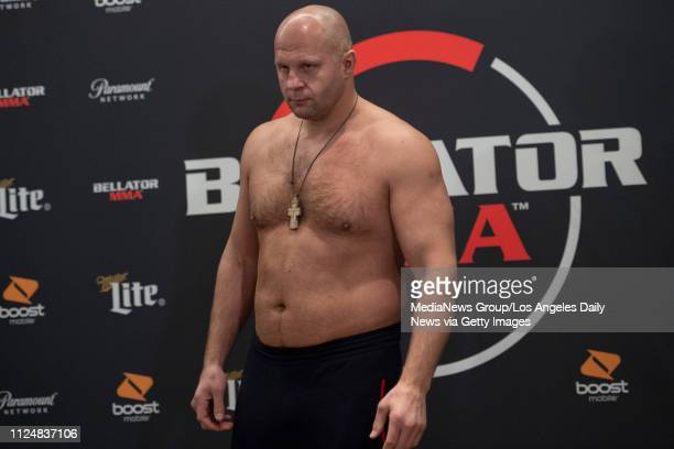 Bellator Heavyweight World Grand Prix Finalist Fedor Emelianenko weighs in at 2362 pounds during the official weighins for Bellator 214 at the Westin...