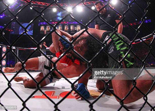 Bellator welterweight champion Andrey Koreshkov and challenger Benson Henderson grapple during their main event bout in Bellator 153 at Mohegan Sun...