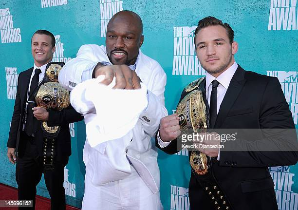 Bellator World Champions Pat Curran King Mo and Michael Chandler arrive at the 2012 MTV Movie Awards at Gibson Amphitheatre on June 3 2012 in...