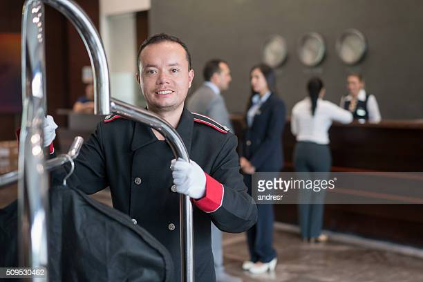 Bellboy working at the hotel