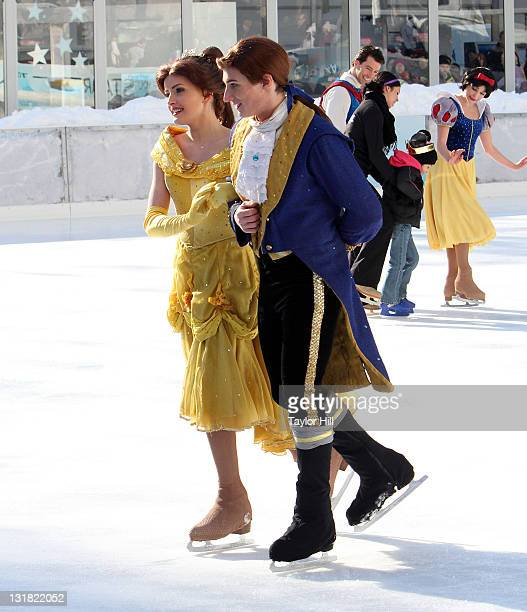 Belle and her prince attend a special skating experience with Princess Wishes and children from The Sunshine Kids at Citi Pond in Bryant Park on...
