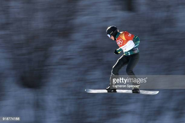 Belle Brockhoff of Australia warms up ahead of the Ladies' Snowboard Cross Qualification on day seven of the PyeongChang 2018 Winter Olympic Games at...