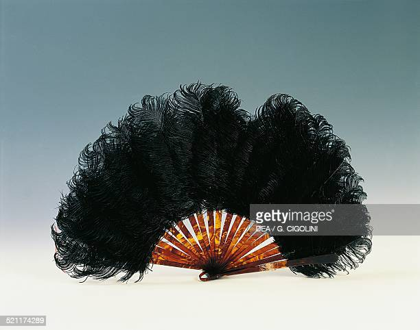 Belle Epoque style black ostrich feather hand fan and tortoise shell ribs 20th century Unspecified