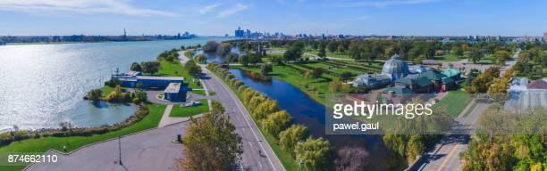 belle isle aerial detroit - detroit river stock pictures, royalty-free photos & images