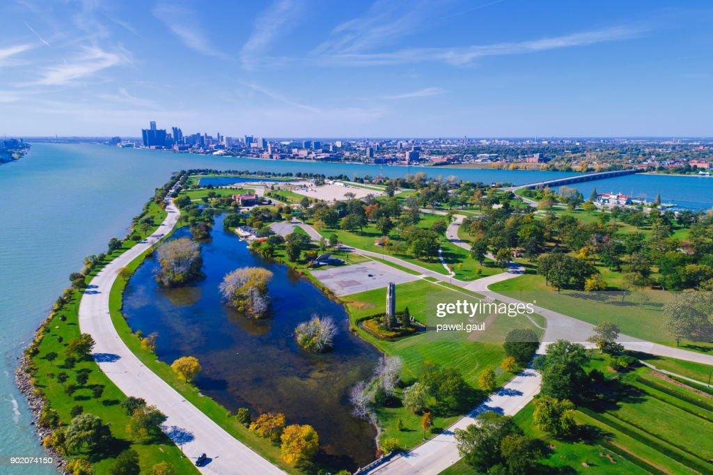 Belle Isle Aerial Detroit : Stock Photo
