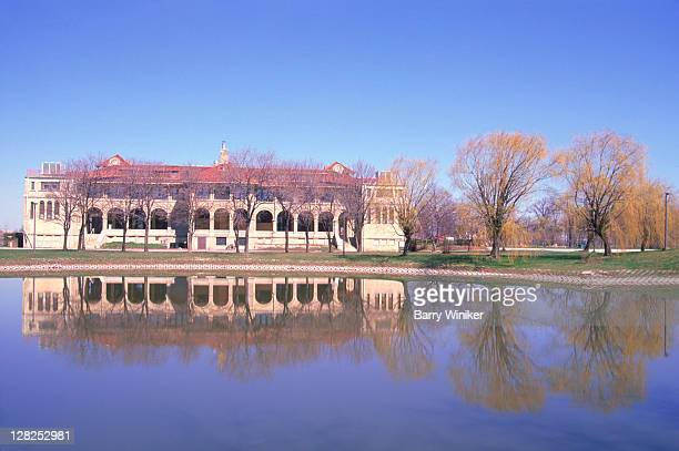 Belle Isle, Pond and reflection of Landmark building, Detroit, Michigan