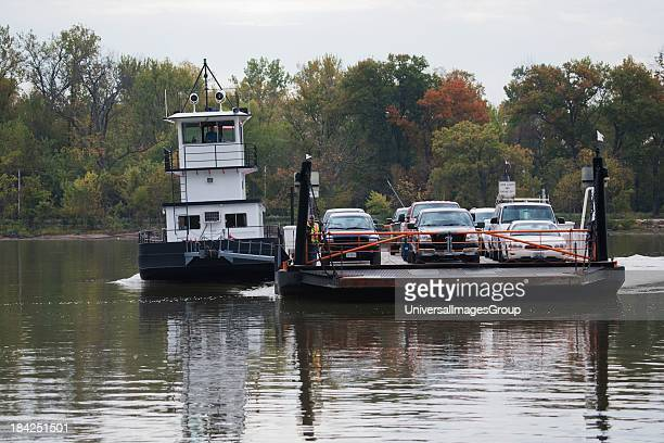 Belle of Calhoun ferry boat shuttlesat Brussels Il Is a free ferry carrying cars across the Mississippi and Illinois River to Missouri