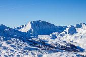 mountains above belle plagne france sunny