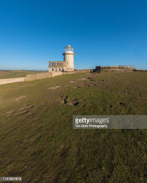 belle tout lighthouse and the close cropped turf of the chalk downlands near beachy head, east sussex, uk - belle tout lighthouse stock photos and pictures