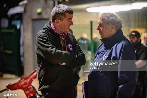 Belle Vue BikeRight Aces CEO Adrian Smith chats with meeting Steward Tony Steele during the SGB Premiership Grand Final 1st Leg between Belle Vue...