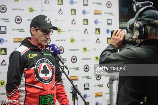 Belle Vue BikeRight Aces manager Mark Lemon gives Eurosport an interview during the SGB Premiership Grand Final 1st Leg between Belle Vue Aces and...