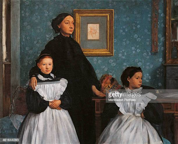 Bellelli Family by Eduard Degas 19th Century oil on canvas France Paris Musée d'Orsay Detail Portrait of a woman with her daughters