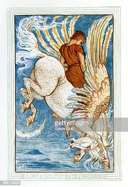 Bellerophon riding Pegasus Retelling of Greek Myths by Nathaniel Hawthorne Illustrations by Walter Crane 1845 1915