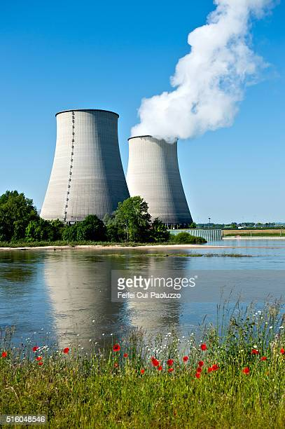 belleville nuclear power plant at belleville-sur-loire france - atomic imagery stock pictures, royalty-free photos & images
