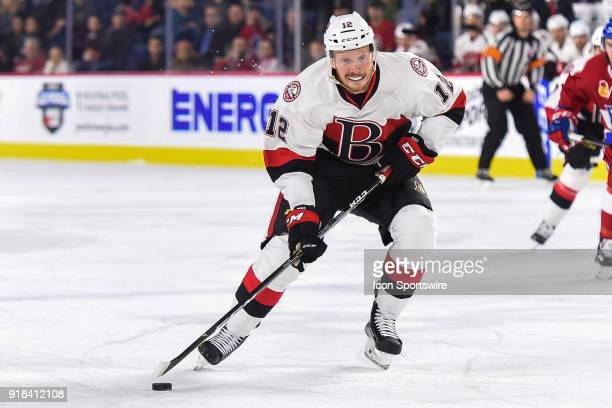 Belleville Senators right wing Jack Rodewald enters Laval Rocket zone with the puck during the Belleville Senators versus the Laval Rocket game on...